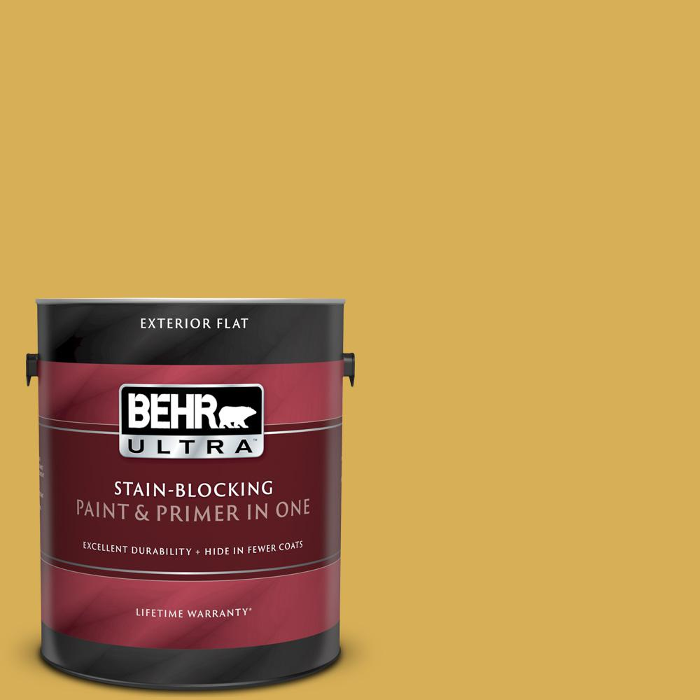 Behr Ultra 1 Gal 370d 6 Golden Cricket Flat Exterior Paint And Primer In One 485301 The Home Depot