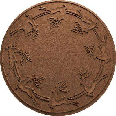 Aqua Shield Dark Brown 35 in. Round Reindeer Run Under the Tree Mat