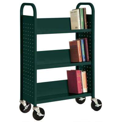Forest Green Mobile Steel Bookcase