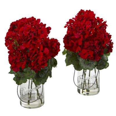 Indoor Geranium Artificial Arrangement (Set of 2)