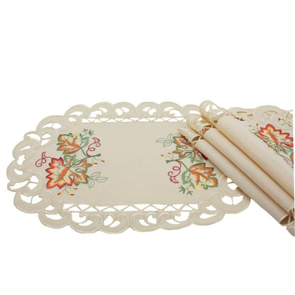 0.1 in. H x 13 in. W x 19 in. D Thankful Leaf Embroidered Cutwork Fall Placemats (Set of 4)