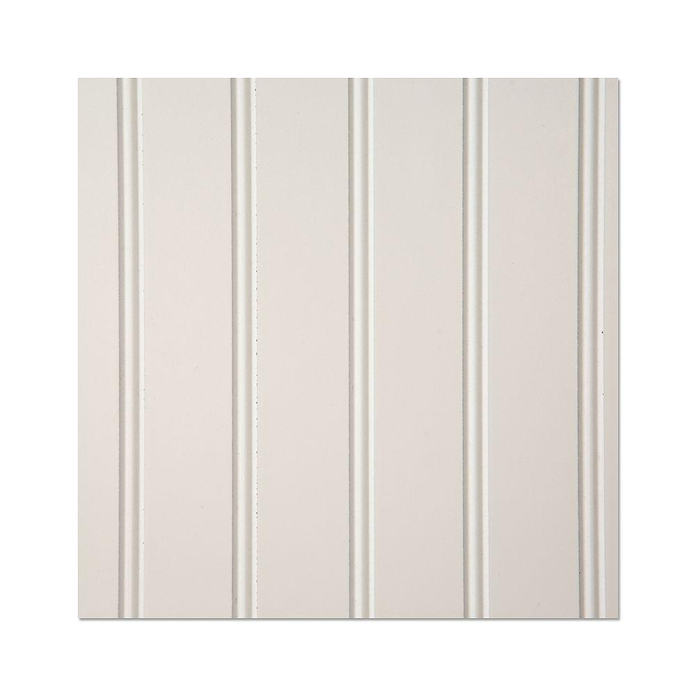 EUCATILE 10 sq. ft. 32 in. x 48 in. White Hardboard True Bead Wainscot Paneling