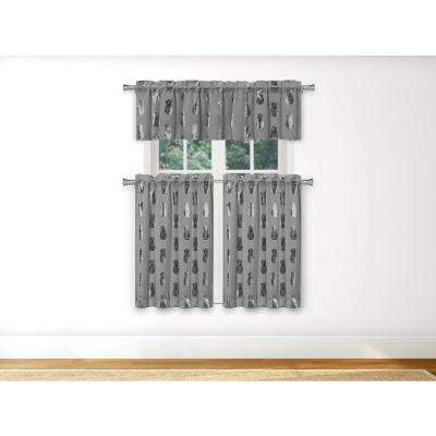 Alohi Kitchen Valance in Grey-Silver - 15 in. W x 58 in. L (3-Piece)