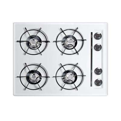 24 in. Gas Cooktop in White with 4 Burners