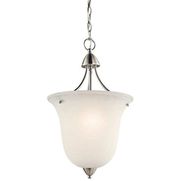 Nicholson 1-Light Brushed Nickel Pendant Light with Satin Etched Glass