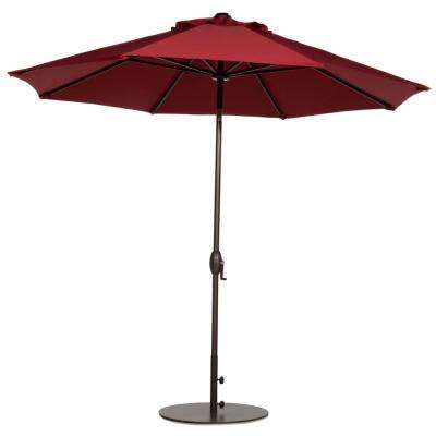 9 ft. Market Outdoor Table Umbrella with Auto Tilt and Crank Patio Umbrella in Red (8-Ribs)