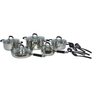 Gourmet Chef 15-Piece Stainless Steel Cookware Set with Lids by Gourmet Chef