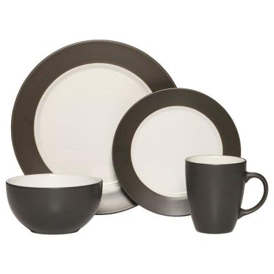 16-Piece Harmony Charcoal Dinnerware Set