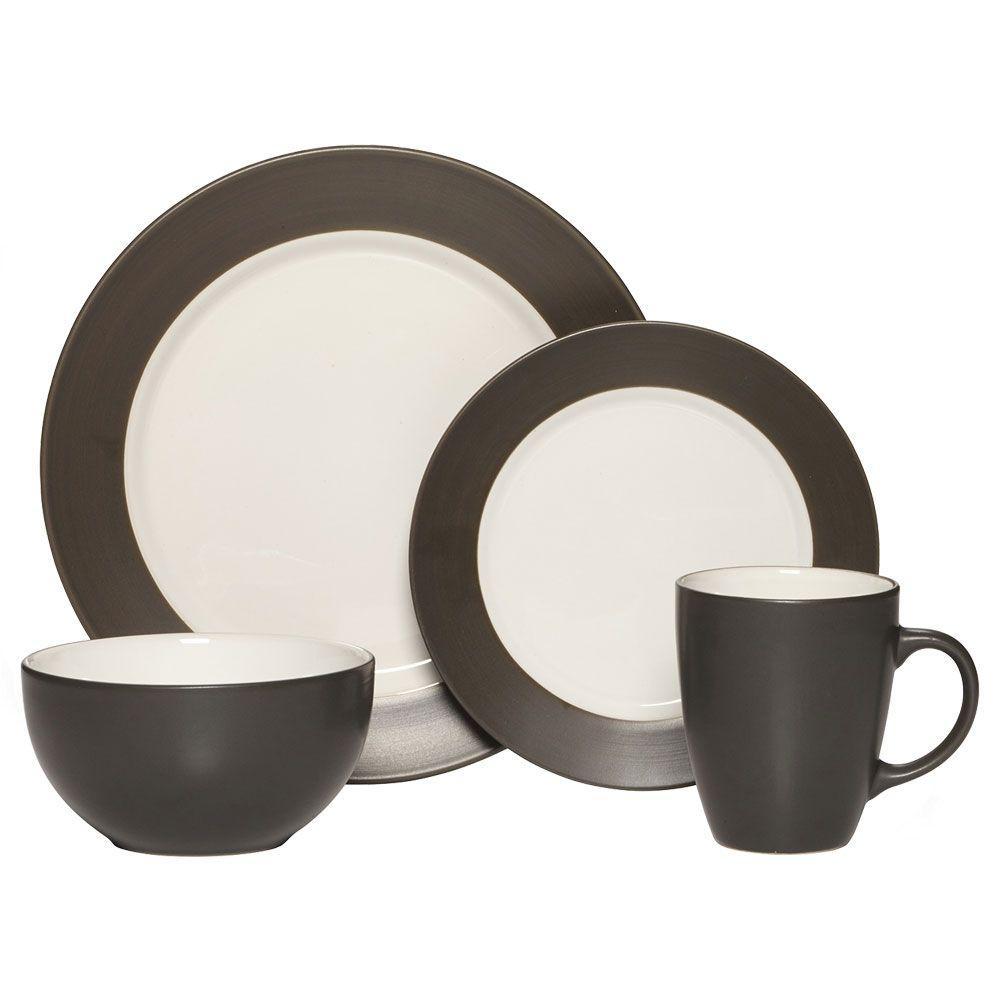 16-Piece Harmony Charcoal Dinnerware Set