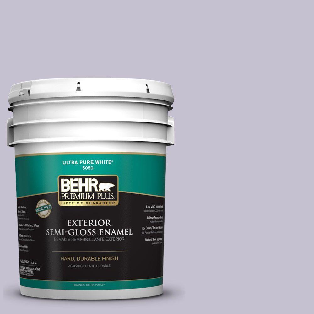 BEHR Premium Plus 5-gal. #ICC-44 Lavender Bouquet Semi-Gloss Enamel Exterior Paint