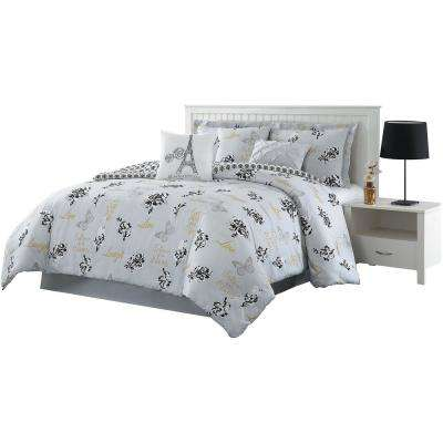 Love What You Do 7-Piece Grey/Yellow Queen Reversible Comforter Set