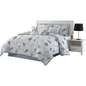 Love What You Do 7-Piece Grey/Yellow Queen Reversible Comforter Set by