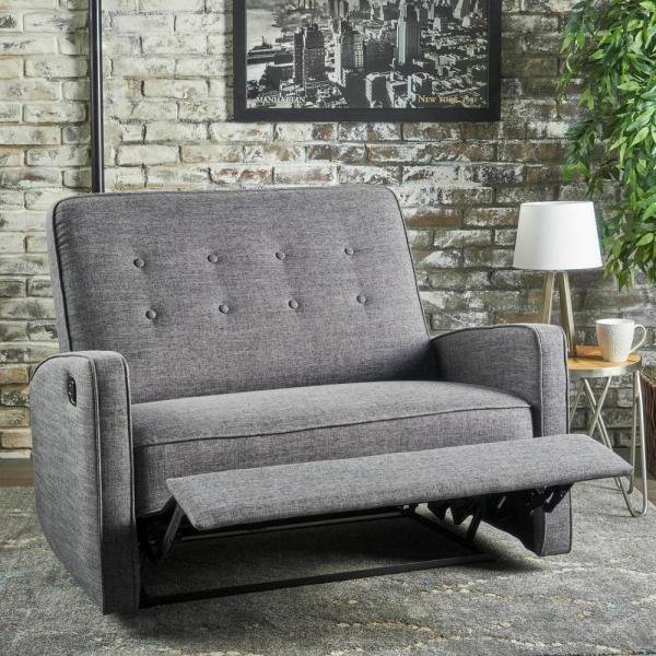 Noble House Calliope 47 In Gray Black Button Tufted Polyester 2 Seater Reclining Loveseat With Square Arms 14837 The Home Depot