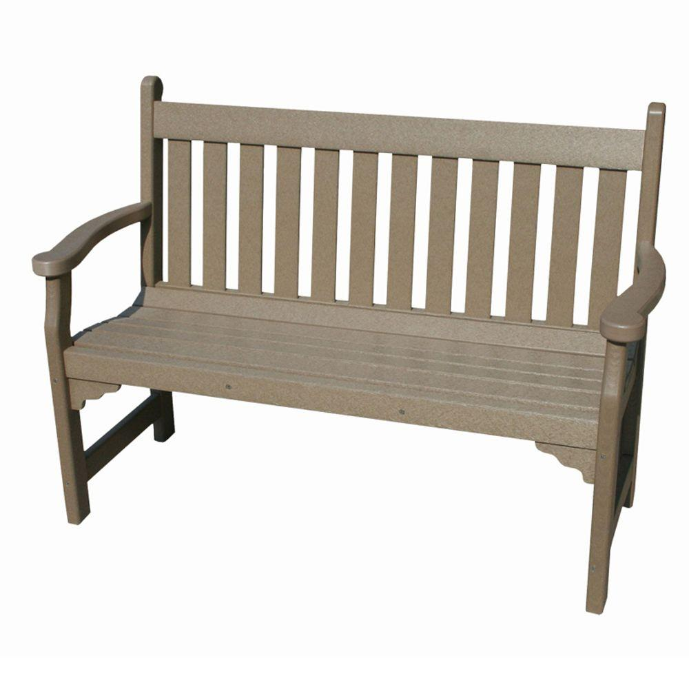 Vifah Roch Recycled Plastic Patio Bench in Weathered Wood-DISCONTINUED