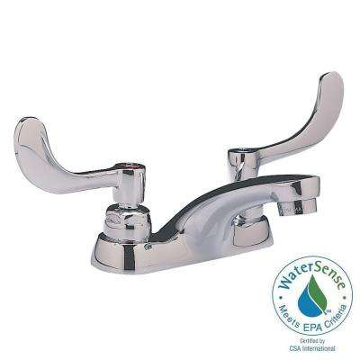Monterrey 4 in. Centerset 2-Handle Bathroom Faucet in Polished Chrome with Wrist Blade Handles and Grid Drain
