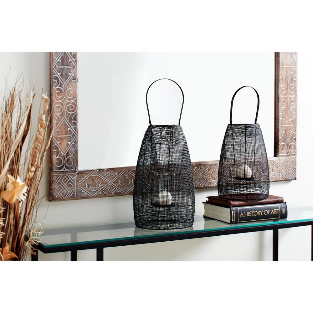 Large Round Black Mesh Metal Lantern Candle Holder with Handle