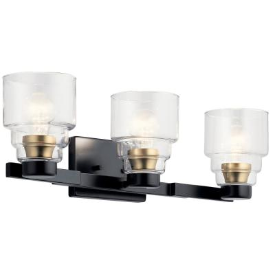 Vionnet 7 in. 3-Light Black Vanity Light with Clear Glass Shade