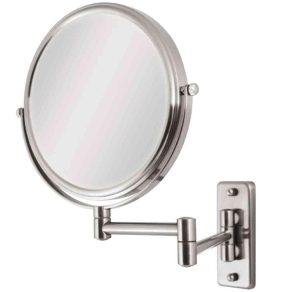 H Swivel Wall Mount Makeup Mirror In Satin