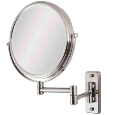 9 in. W x 12 in. H Swivel Wall Mount Makeup Mirror in Satin Nickel