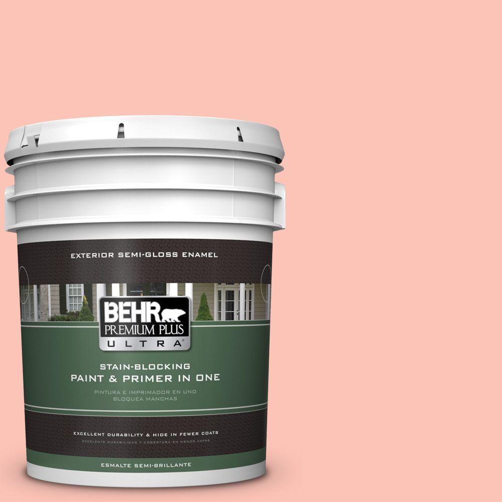 BEHR Premium Plus Ultra 5-gal. #190A-3 Salmon Peach Semi-Gloss Enamel Exterior Paint