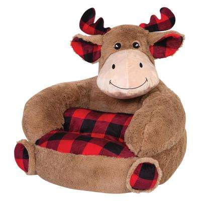 Brown, Red, Black Children's Plush Buffalo Check Moose Character Chair