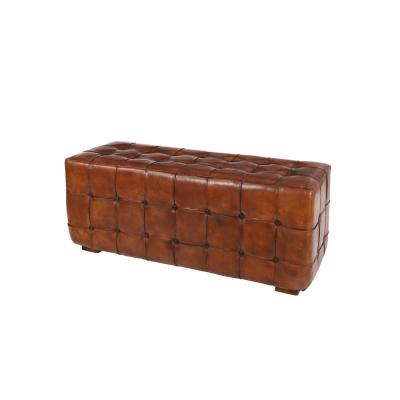 Large Golden Brown Top Grain Leather Tufted Bench with Teak Wood Legs
