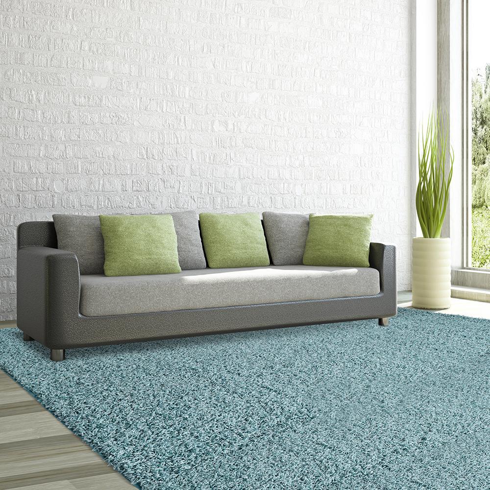 comfort shag aqua 8 ft x 10 ft area rug