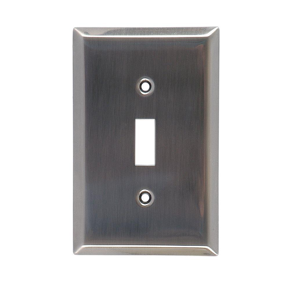 Power Gear 1 Toggle Switch Steel Wall Plate, Chrome