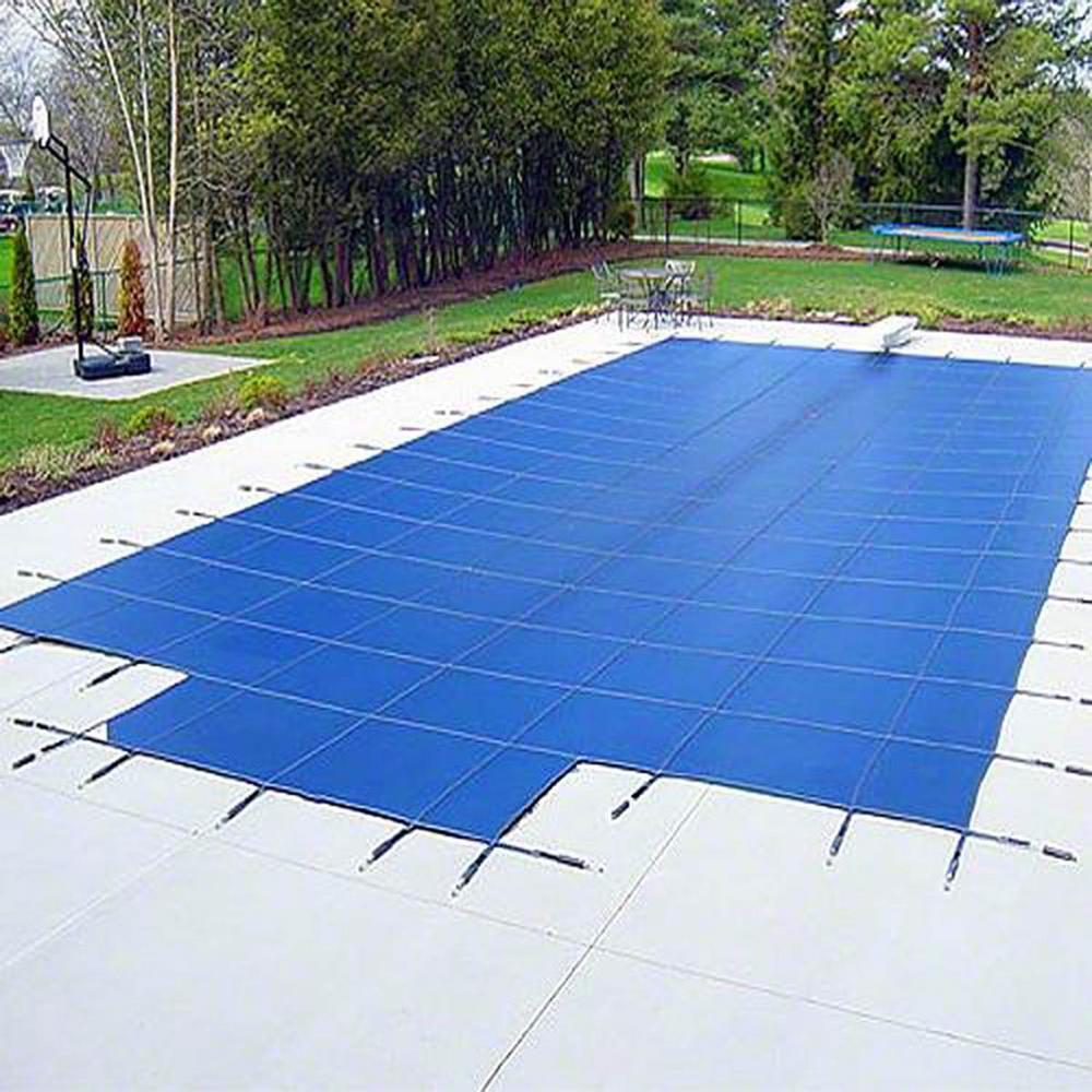 Yard Guard 18 ft. x 38 ft. Rectangular Blue Deck-Lock In-Ground Safety Pool Cover with Center Step