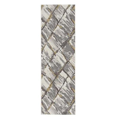 HomeRoots Bernadette Ivory/Gray 2 ft. x 7 ft. Abstract Polyester Runner Rug