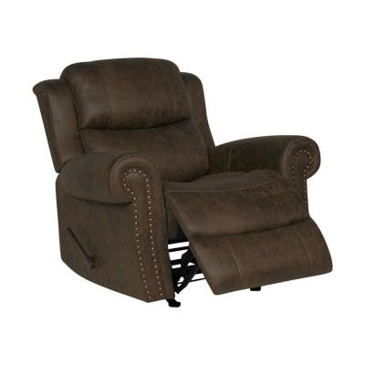 Distressed Saddle Brown Faux Leather Extra Large Rocker Rolled Arm Recliner Chair