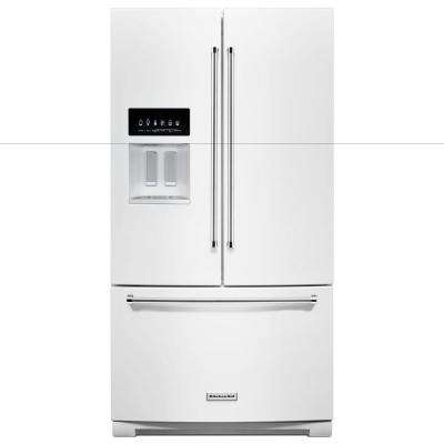 27 cu. ft. Built-In French Door Refrigerator in White with Exterior Ice and Water