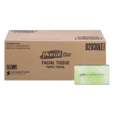 100% Premium Recycled Facial Tissue 2-Ply (100-Count)