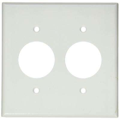2-Gang 2 Single Receptacles, Standard Size Plastic Wall Plate - White