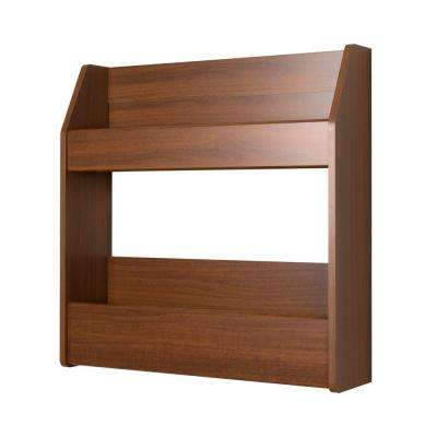 Warm Cherry 2-Shelf Composite Wood Floating Wine and Liquor Rack