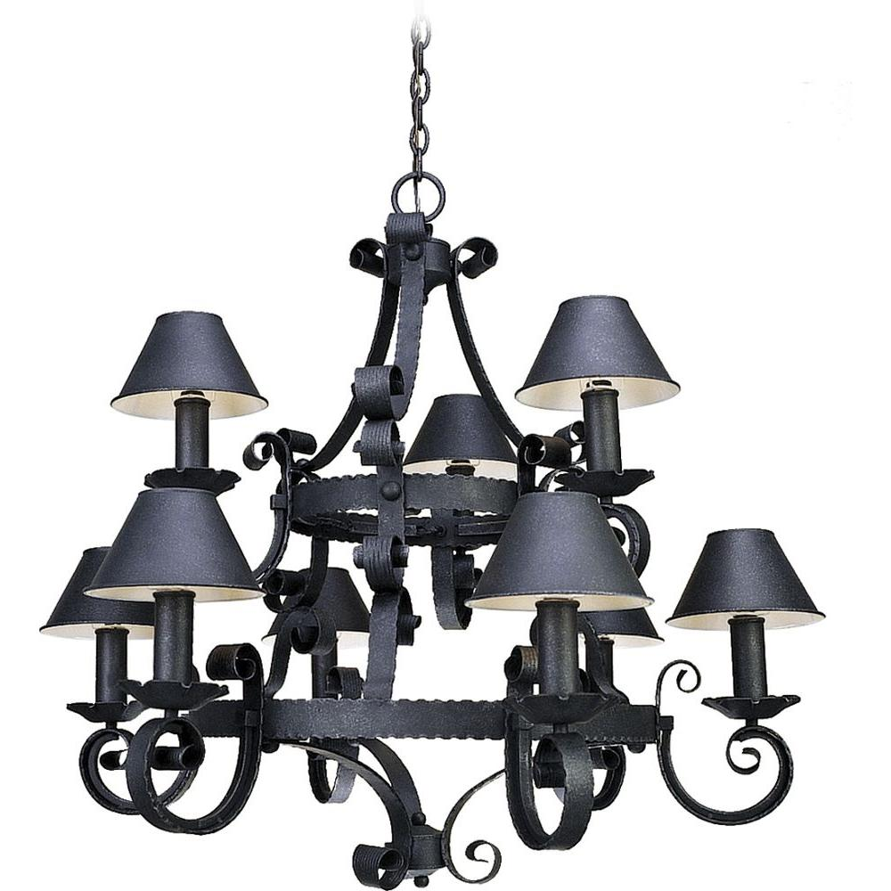 Volume Lighting Kingston 9 Light Antique Iron Interior Chandelier