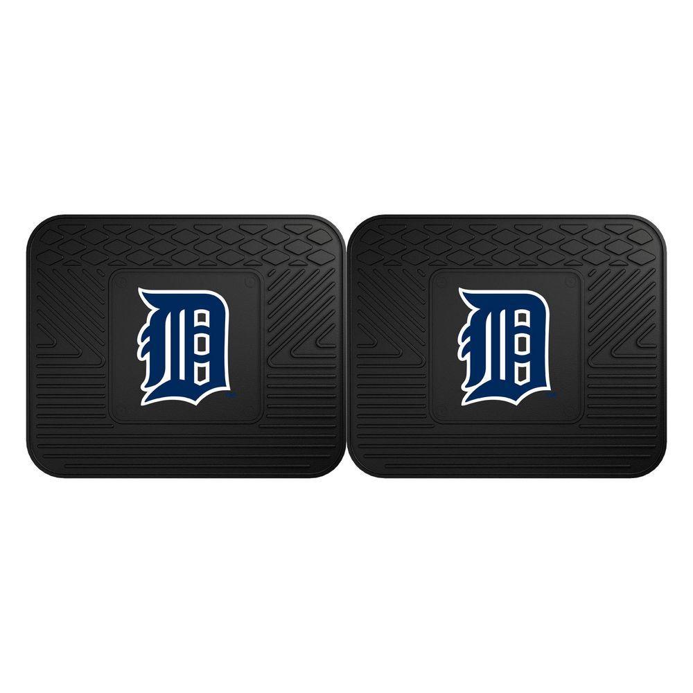 MLB Detroit Tigers Black Heavy Duty 2-Piece 14 in. x 17 in. Vinyl Utility Mat