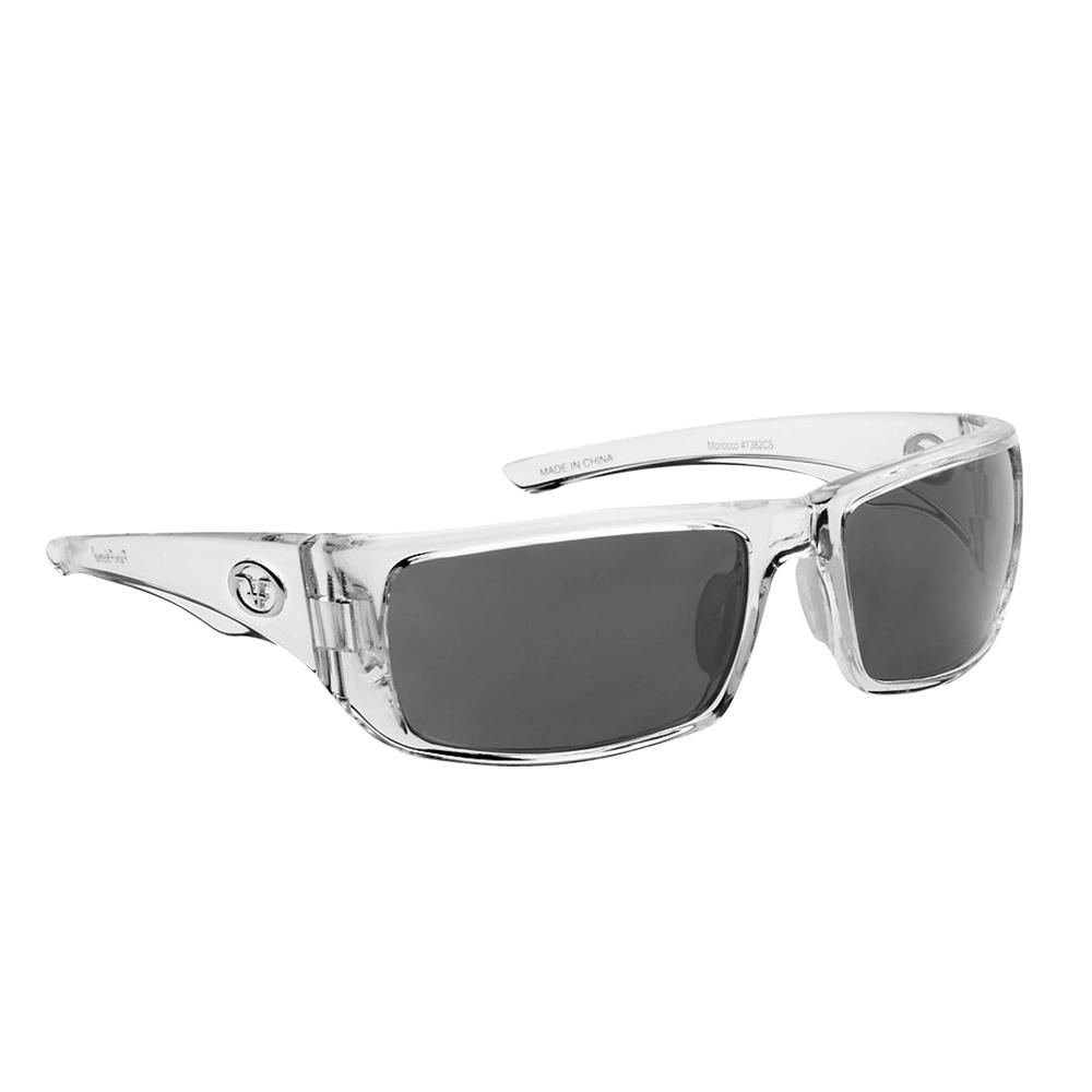 d5a43826a2d Flying Fisherman. Morocco Polarized Sunglasses Crystal Frame with Smoke Lens