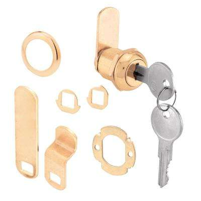 5/8 in. Brass Drawer and Cabinet Keyed Cam Lock