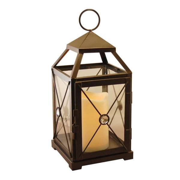 5.25 in x 12 in. Black Gem Metal Lantern with LED