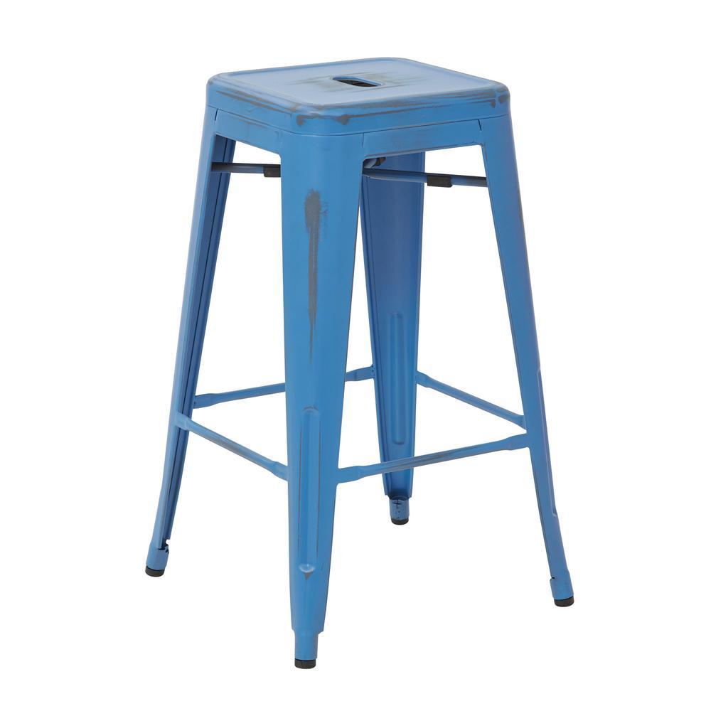 Antique Royal Blue Metal Barstools 2 Pack