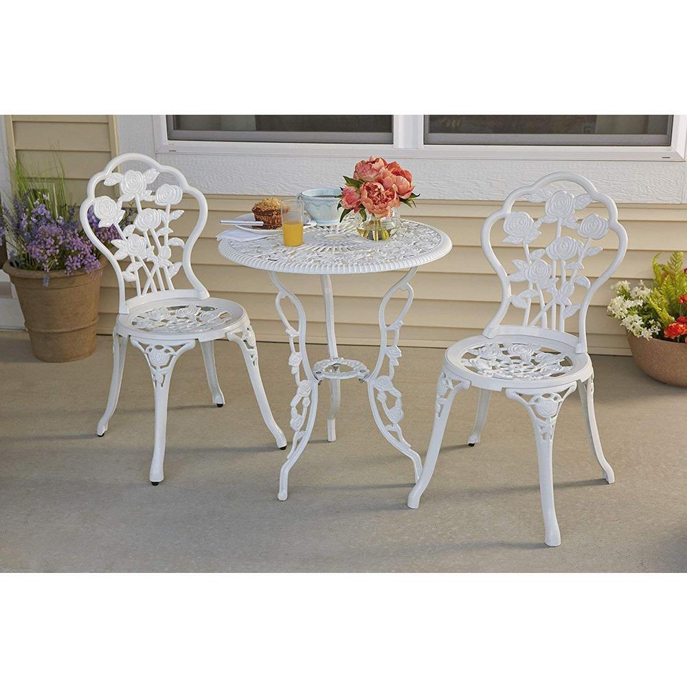 Rose Garden 3-Piece Cast Aluminum Outdoor Bistro Set in White
