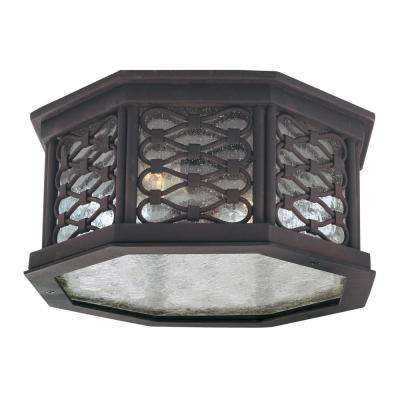 Los Olivos 2-Light Old Iron Outdoor Flushmount