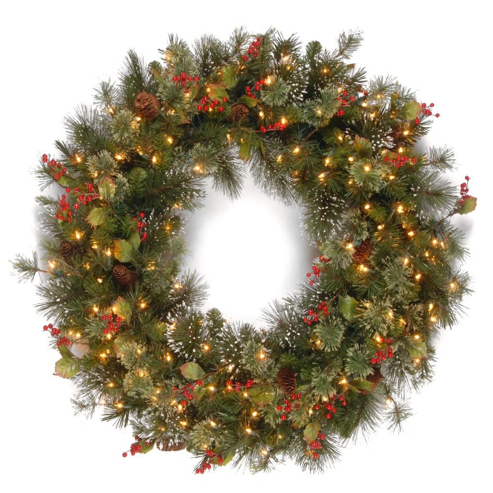36 in. Wintry Pine Artificial Wreath with Clear Lights