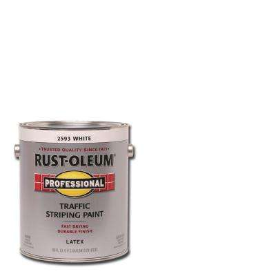 1 gal. Flat White Exterior Traffic Striping Paint (2-Pack)