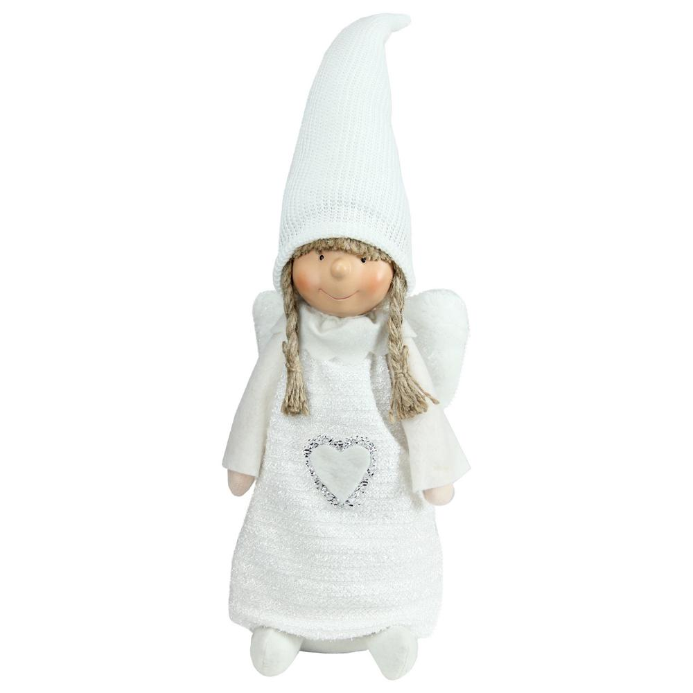 19.25 in. White Snowy Woodlands Girl Angel Christmas Tabletop Figure