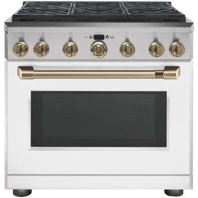 36 in. 6.2 cu. ft. Gas Range with Self-Cleaning Convection Oven in Matte White, Fingerprint Resistant