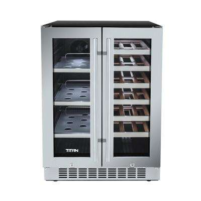23.8 in. 21-Bottle Wine and 60-Can French Door Seamless Stainless Steel Dual Zone Built-In Beverage Cooler