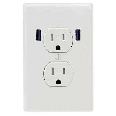 15 Amp Standard Duplex Tamper Resistant Wall Outlet with 2 Built-in USB Charging Ports - White