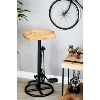 32 in. Oak Brown Pedal and Gears Bar Stool with Wooden Seat